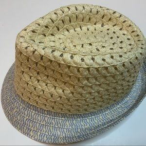 BLUE TAN WOVEN FEDORA HAT